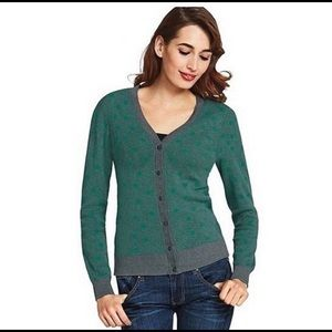 CAbi Green and Gray Polkadot Cardigan Style #903